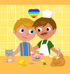 gay couple cooking happily vector image vector image