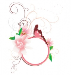 girl and flowers round banner vector image vector image