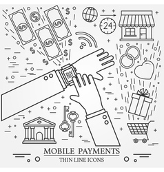 Mobile payments using a smart watch Online shoppin vector image