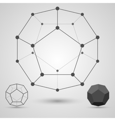 Monochrome framework of connected lines and dots vector image