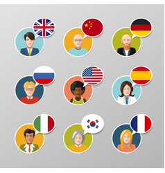 nine colorful user avatars with different language vector image