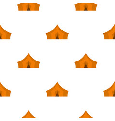 Orange tent for forest camping pattern flat vector