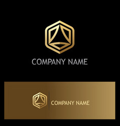 polygon triangle technology gold logo vector image
