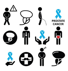 Prostate cancer awareness mens health icons set vector image
