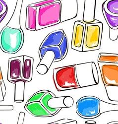 Seamless pattern of nail polish bottles vector image