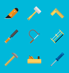 set of 9 editable tools flat icons includes vector image