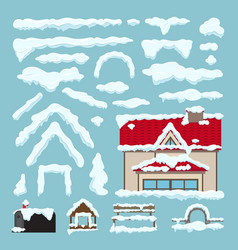 set of isolated snow caps winter house decoration vector image vector image