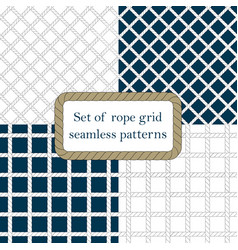 Set of nautical rope seamless fishnet patterns vector