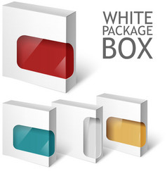Set Of White Package Box Mockup Template vector image