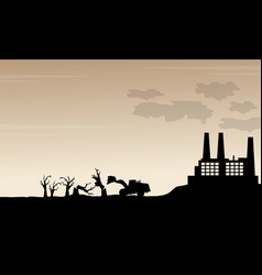 silhouette of industry bad environment scenery vector image vector image