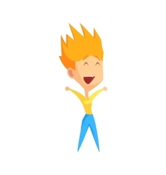 Spiky redhead female character rejoicing vector