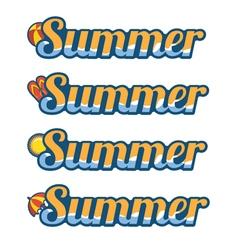 Summer text with flip flops ball umbrella and sun vector image