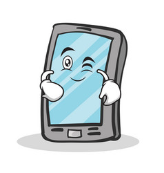Wink face smartphone cartoon character vector