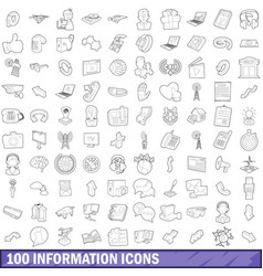 100 information icons set outline style vector