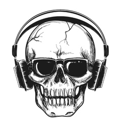 Human skull with headphones vector