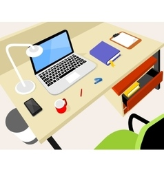 Workplace with laptop vector