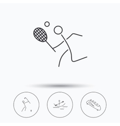Boating tennis and golf icons vector