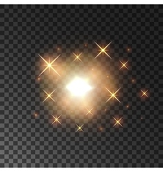 Glittering golden star light sparks vector