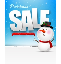 Merry christmas sale text with snowman eps10 vector