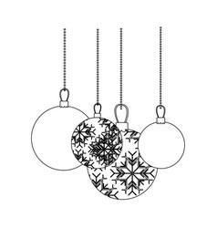 figure christmas balls hanging icon vector image