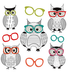 Set of isolated owls with glasses vector