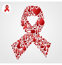 Red ribbon symbol with aids icons vector