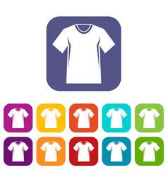 Men tennis t-shirt icons set vector