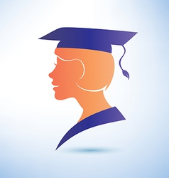 Young woman silhouette with graduation cap vector