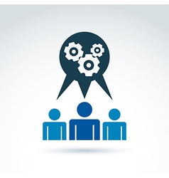 Gears and cogs working team system theme icon vector