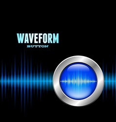 Silver button with sound waveform sign vector image