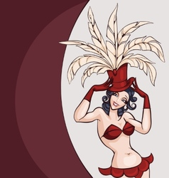 Smiling cabaret ot burlesque dancer posing vector