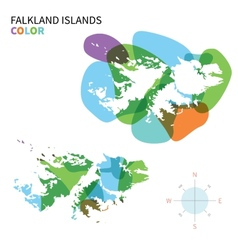 Abstract color map of falkland islands vector