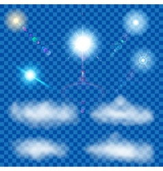 Set of transparent suns and clouds vector