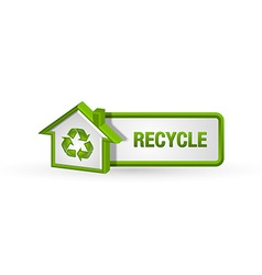 Recycle button with house icon vector