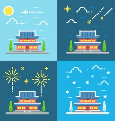 Chandeokgung palace flat design vector