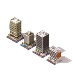 isometric buildings set vector image