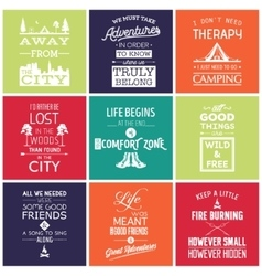 Set of vintage camping typographic quotes vector