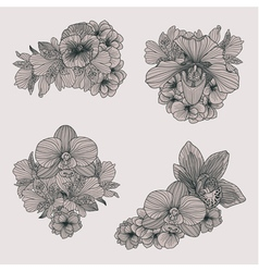 vintage flowers compositions vector image