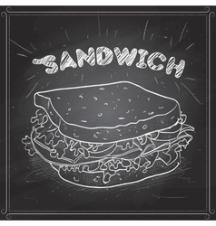 Sandwich scetch on a black board vector