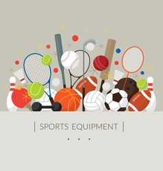 Sports equipment flat icons display label vector