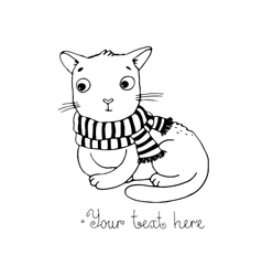 Cute cartoon cat and scarf vector