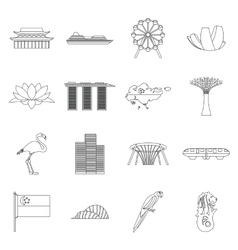 Singapore icons set outline style vector image