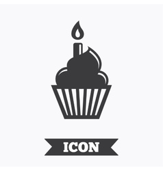 Birthday cake sign icon burning candle symbol vector