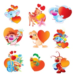 a set of animals with hearts Valentine s day vector image vector image