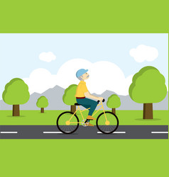 active senior on bicycle old age tourist vector image