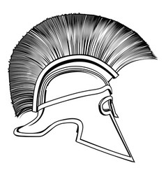 Black and white ancient greek warrior helmet vector