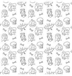 Black and White Textile Halloween Fun Pattern vector image