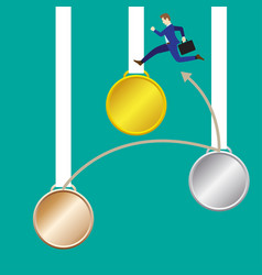 businessman jumping to gold medal vector image