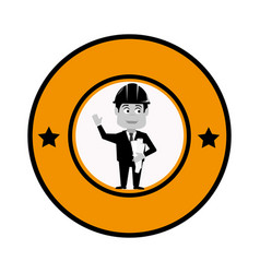 Circular frame with engineer with helmet vector
