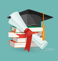 degree scroll pile of books and black graduation vector image vector image
